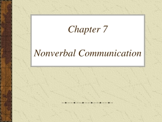 Chapter 7 Nonverbal Communication