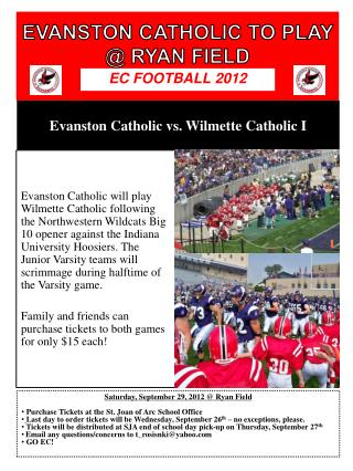 EVANSTON CATHOLIC TO PLAY  @ RYAN FIELD