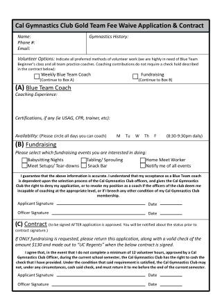Cal Gymnastics Club Gold Team Fee Waive  Application & Contract