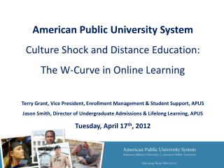 American  Public University System Culture Shock and Distance Education: