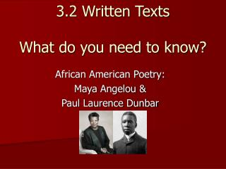 3.2 Written Texts What do you need to know?