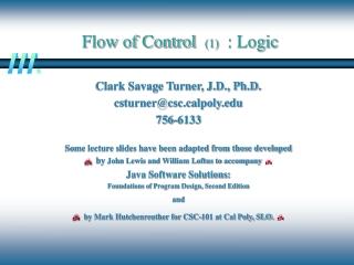 Flow of Control (1) : Logic