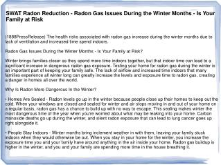 SWAT Radon Reduction - Radon Gas Issues During the Winter Mo