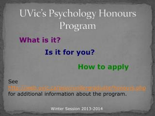 UVic's Psychology Honours Program