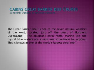 Cairns Great Barrier Reef Cruises
