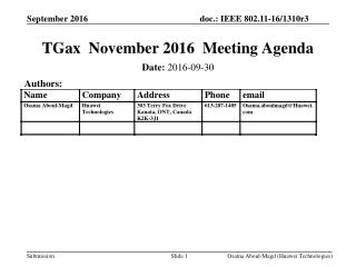 TGax November 2016 Meeting Agenda
