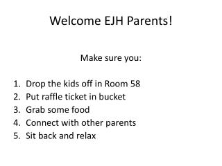 Welcome EJH Parents!