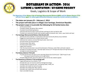 Rotarians in Action- 2014 Latrine & Sanitation / Hygiene Project Goals, Logistics & Scope of Work