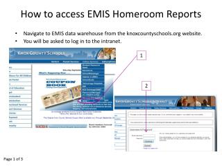 How to access EMIS Homeroom Reports