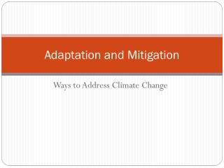 Adaptation and Mitigation