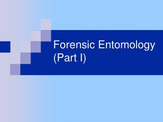 Forensic Entomology (Part I)