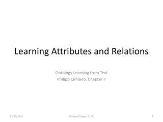 Learning Attributes and Relations
