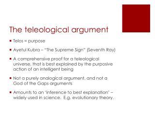 teleological argument for creation