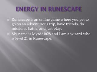 ENERGY IN RUNESCAPE