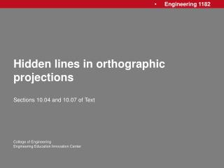 Hidden lines in orthographic projections