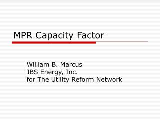 MPR Capacity Factor