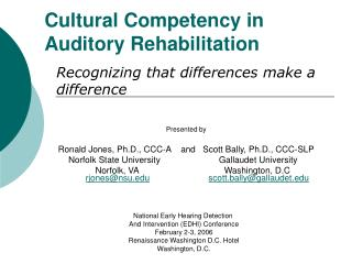 Cultural Competency in  Auditory Rehabilitation