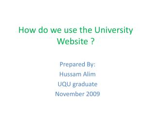 How do we use the University Website ?