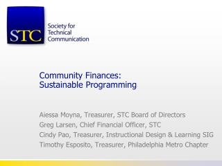 Community Finances: Sustainable Programming