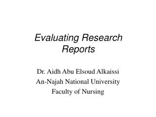 Evaluating Research Reports