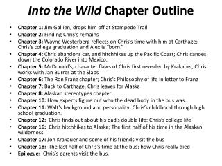 Into the Wild  Chapter Outline