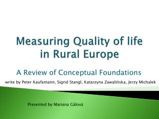 Measuring Quality of life  in  Rural Europe