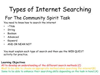 Types of Internet Searching