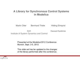 A Library for Synchronous Control  Systems in  Modelica