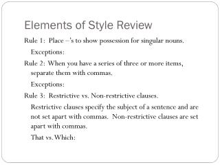 Elements of Style Review