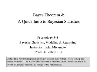 Bayes Theorem &  A Quick Intro to Bayesian Statistics