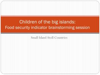 Children of the big islands:  Food security indicator brainstorming session