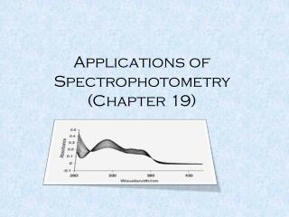 Applications of  Spectrophotometry (Chapter 19)