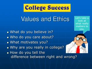 Values and Ethics