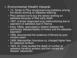 Environmental (Health) Hazards