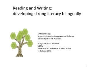 Reading and Writing:  developing strong literacy bilingually