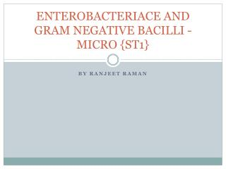 ENTEROBACTERIACE AND GRAM NEGATIVE  BACILLI - MICRO  {ST1}