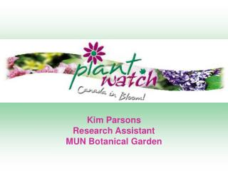 Kim Parsons  Research Assistant MUN Botanical Garden