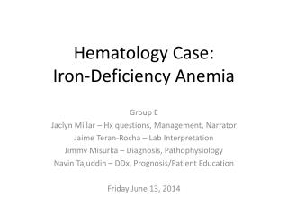 Hematology Case: Iron-Deficiency Anemia