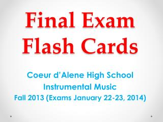 Final Exam Flash Cards