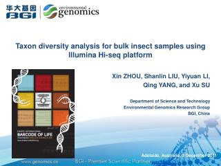 T axon diversity analysis for bulk insect samples using  Illumina  Hi- seq  platform