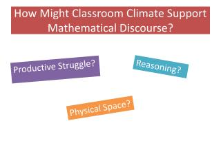 How  Might  Classroom Climate Support Mathematical Discourse?