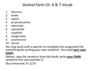 Animal Farm C h. 6 & 7 Vocab