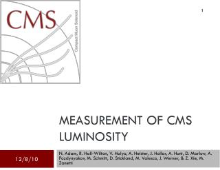 Measurement of CMS Luminosity