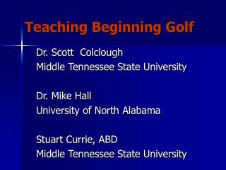 Teaching Beginning Golf
