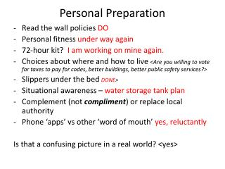 Personal Preparation