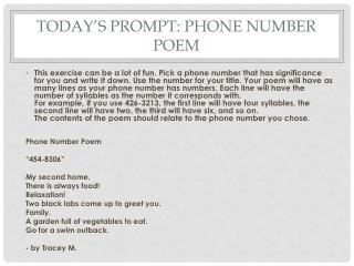 Today's Prompt: Phone Number Poem