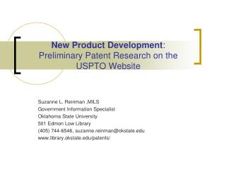 New Product Development :        Preliminary Patent Research on the USPTO Website