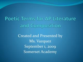 Poetic Terms for AP Literature and Composition