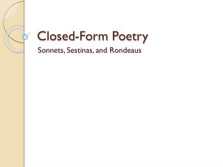 Closed-Form Poetry