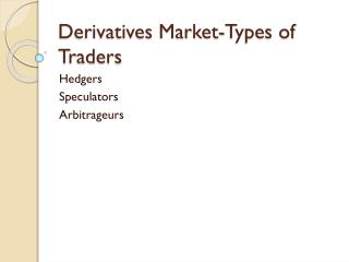 Derivatives Market-Types of Traders